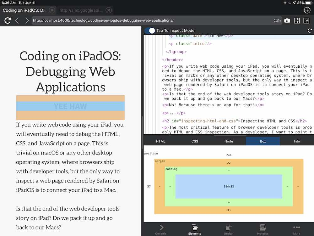 Coding on iPadOS: Browser Dev Tools with Inspect – Andrew
