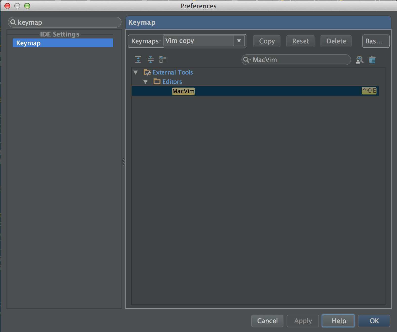 Adding a key binding for a MacVim external tool in PyCharm (2)