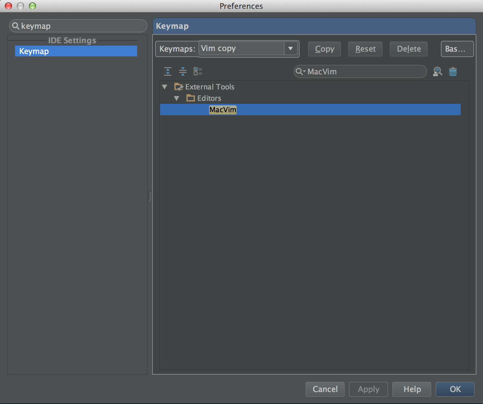 Adding a key binding for a MacVim external tool in PyCharm