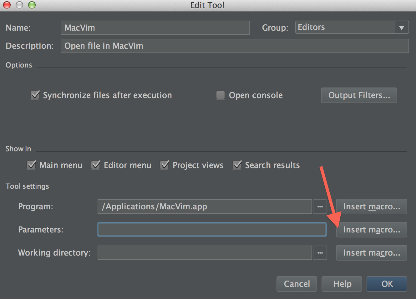 Clicking on insert macro for the parameters setting of an external tool in PyCharm