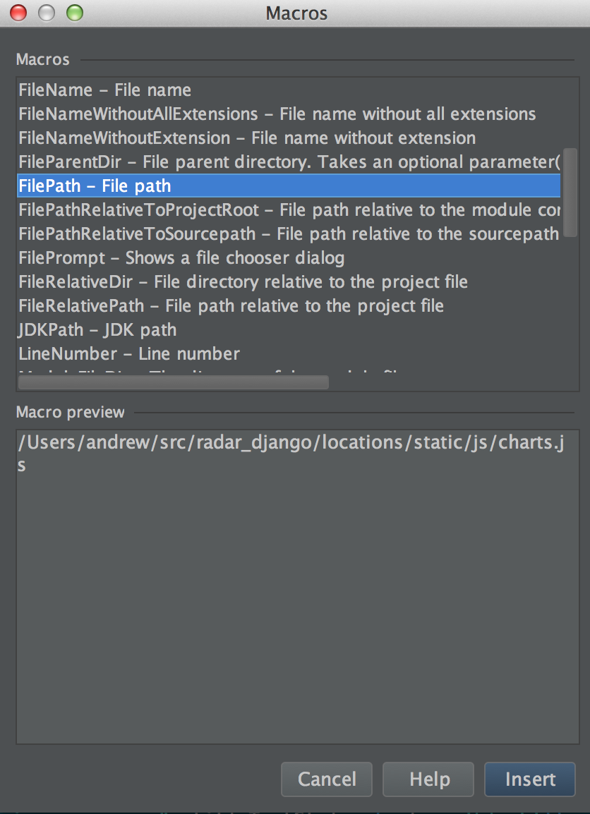 Selecting the FilePath macro for an external tool in PyCharm