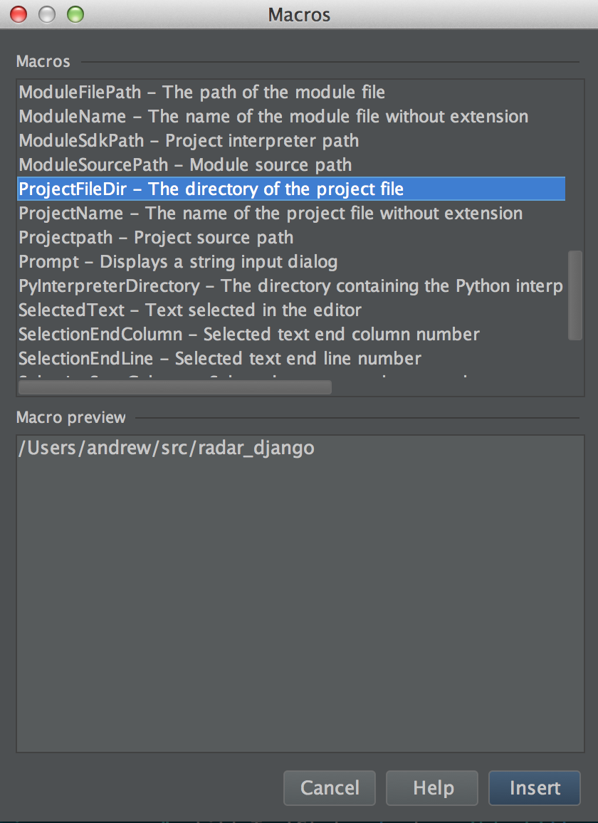 Selecting the ProjectFileDir macro for an external tool in PyCharm