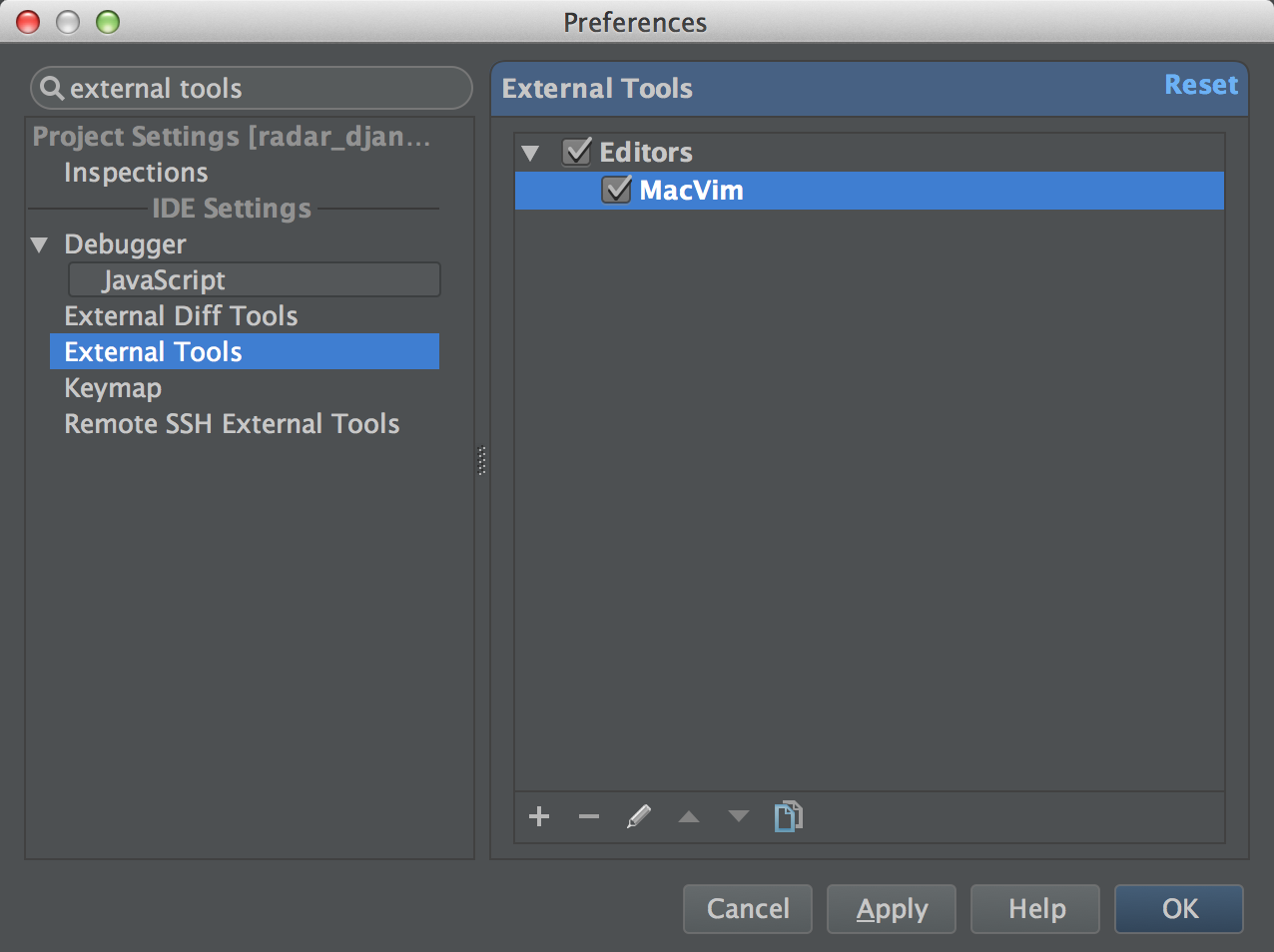 Viewing a completed MacVim external tool in PyCharm